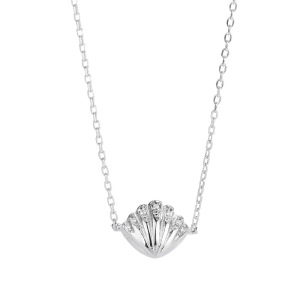 Exquisite CZ Micro Paved 925 Sterling Silver Shell Shape Pendant Clavicle Chain Necklace for Women