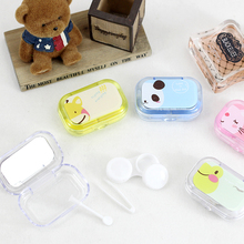 New Product Portable Solid Color Plastic Eyewear Tool Contact Lens Case With Mirror