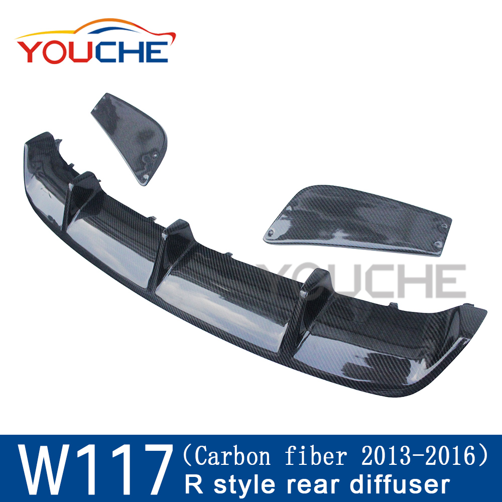 R style carbon fiber rear diffuser for mercedes benz CLA class <strong>W117</strong> pre facelift sport edition 2013-2015