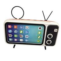 Portable Wireless Bluetooth Speaker with Cell Phone Stand Holder Retro TV Design Handsfree for 5.0-6.5inch Smart Phone