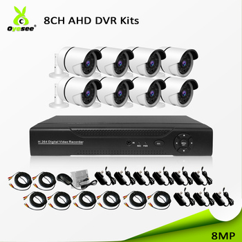 4K 8mp AHD 8ch kit cctv bullet camera system  ip66 for outdoor and easy installation