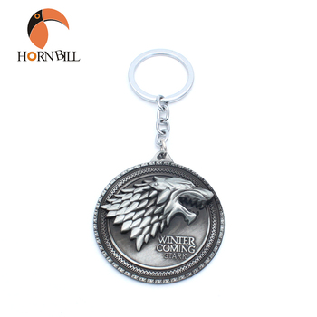 Wolf Pattern 3D Casting Arya Winterfell Lord Majesty The Game of Thrones House of Stark Winter is Coming Here Keychain Keyring