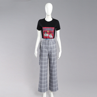 Printing T Shirt and Plaid Wide Leg Pants 2 Piece Set Women Clothing Casual Wearing Suit Set Women Trousers