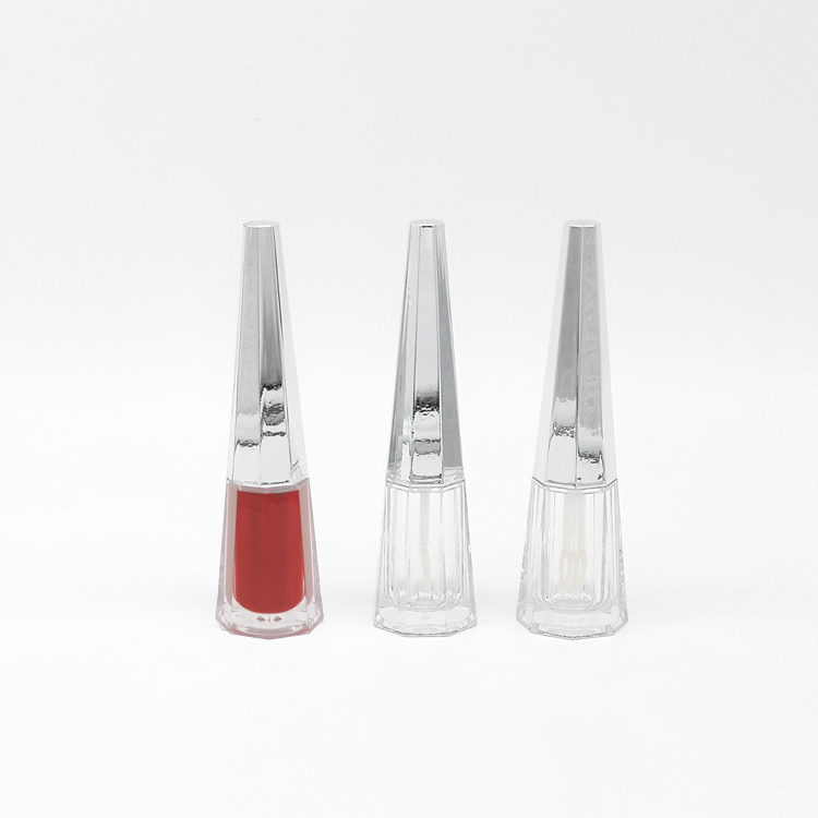 In stock liquid lipstick <strong>tube</strong> taper 7ml silvery empty lip gloss <strong>tube</strong> with brush
