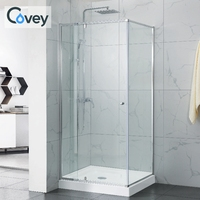 Single custom bathroom frameless tempered glass pivote shower cabinet silver color polish square cabin shower room