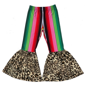 girl serape stripe bell bottom flare pants baby leopard Cactus print pant&trousers 2019 mexican fall leggings