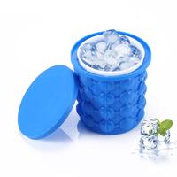 2019 Hot Selling Silicone Ice Bucket, 2 in 1 Space Saving Ice Cube Maker, Portable Silicon Rubber Ice Bucket with lid