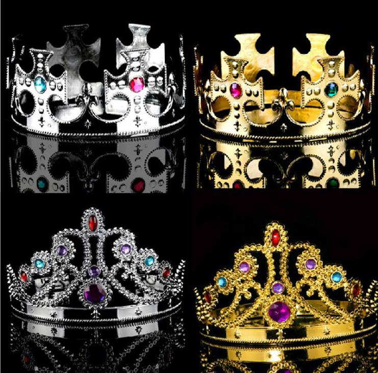 New Golden Silver King Headdress Plastic Uniform Code King Grand <strong>Crown</strong> Birthday Cake Copper Prince <strong>Crown</strong>