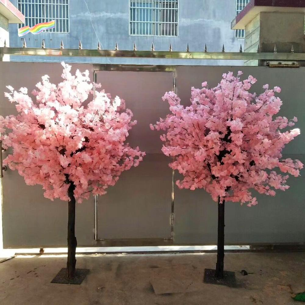 Wholesale japanese artificial silk white pink art cherry blossom trees plastic table centerpiece trees for wedding decoration