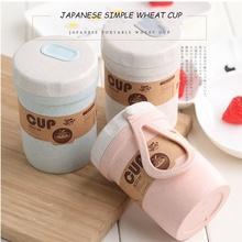 300ml Creative Coffee Mug Takeaway Soup Container Mini Wheat Straw Eco Travel Mug Manufacturer