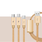 Wholesale Customized Nylon Braided Usb Extension Cable Quick Charge Type C Micro Usb Data Cable for Android