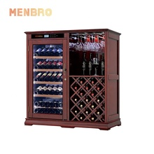 Modern luxury humidity control red oak display wine bar cabinet furniture inverter compressor cooler wine fridge dual zone