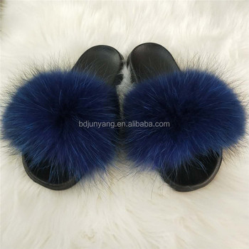 women slides sandals real fur slippers blank slide sandal
