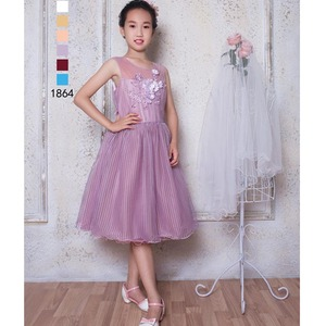 3D Flowers Bodice Decorative Net Party Dress Kids Girl