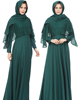 A6099 Ethnic Middle Eastern Costume Robe Islamic Muslim Lace Long Green Dress