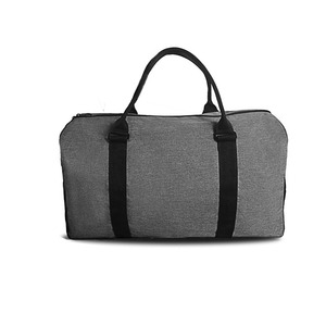 Fashion sports gym bag snow fabric duffel bag with shoes compartment weekend Fitness bag with trolley belt black and gray