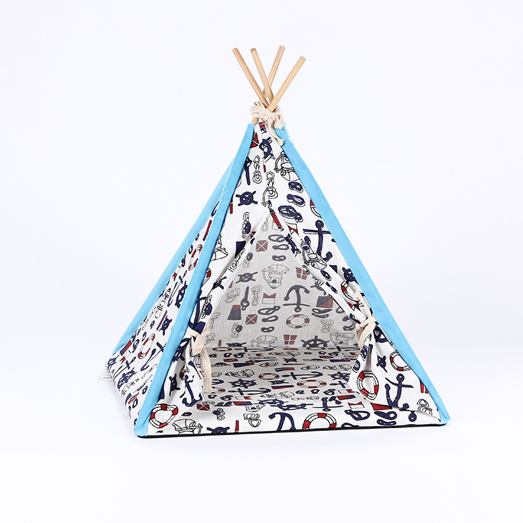 100% Cotton Colorful Pet Teepee Tent Pop up Dog House Tent