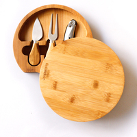 Bamboo Cheese Board 100% Natural With 3 Piece Cutlery Set Cheese Platter Hidden Cutlery Drawer