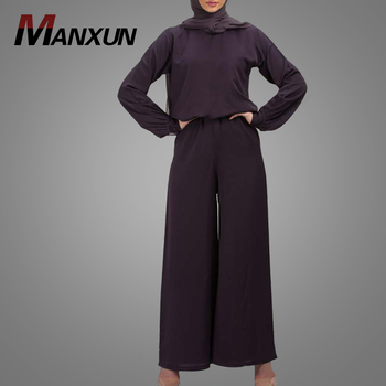 Latest Women Ladies Abaya Elegant Long Sleeve Loose Fitting Muslim Jumpsuit Solid Color Islamic Clothing Wholesale Online