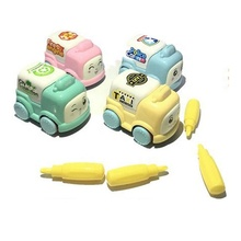 promotional manufacturers children custom mini assemble small plastic <strong>friction</strong> disassembly toy car city for kid