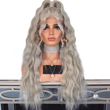 "26"" High Temperature Fiber Sliver Grey Synthetic Lace Front Wig With Baby Hair 180 Platinum Blonde Loose Wave Wigs For Women"