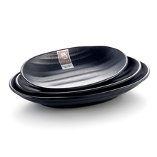 Factory supplies customized logo japanese oval black restaurant <strong>plates</strong>