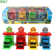 Set of 4 tayo sliding door opening ejecting kids plastic toy bus