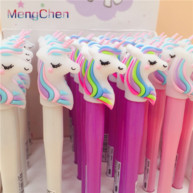 Free Sample Promotional 2019 new stationery promotional school student recycled plastic ball pen funny unicorn gel ink pens <strong>097</strong>
