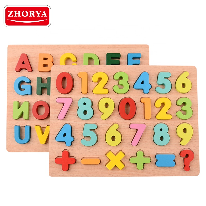 Zhorya 3d Jigsaw educational matching wooden alphabet puzzle