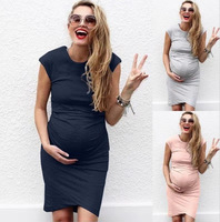 P236 Wholesale 2019 summer solid color sexy pregnant women dress hot selling new style maternity dress