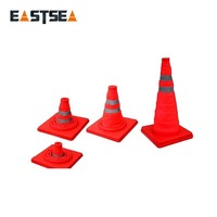 Flexible Roadwork/Worksite Safety PVC Traffic Cone With 2 Reflective Belts 900mm