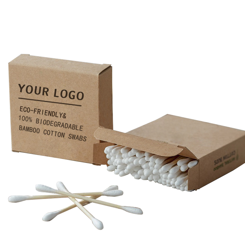 Hot sale organic cotton wool buds <strong>q</strong> tips beauty paper stick Cosmetic cotton swabs in Paper Box