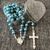 8mm blue pearl rosary beads, catholic necklace with clear heart rosary box