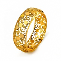 Factory produce customised copper alloy jewelry 24k gold plated big Bangle for women