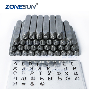 ZONESUN 36pcs Jewelry Metal Stamps Alphabet Set Russian A-Z Leather Punch die Stamping Steel Metal Tool Case Craft 6/8mm