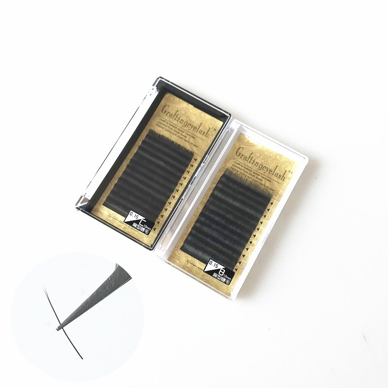 Wholesale custom eyelash packaging Korean silk Ellipse Eyelash Extensions <strong>flat</strong> lash tray
