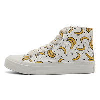 Strawberry banana pattern canvas lady solid color canvas shoes, factory direct low-cost wholesale.