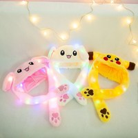 Korea style cartoon yellow pikachu led plush cap bunny hat with air pumping moving ears
