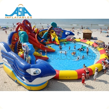 Amusement outdoor inflatable water park with slide/ inflatable water park with pool