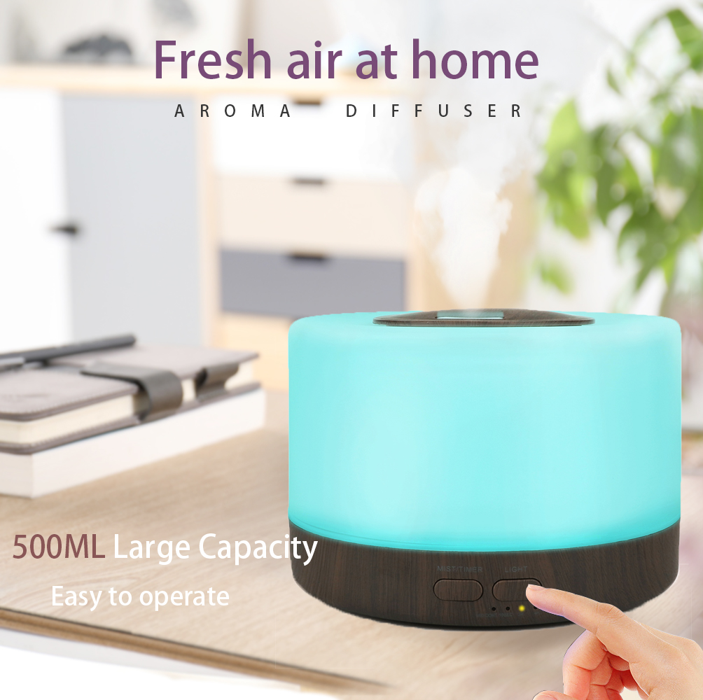 500ml Home appliance Mist Humidifier Ultrasonic Aroma Essential Oil Diffuser- Wood <strong>Grain</strong>