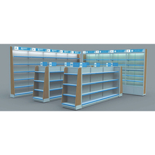 Freestanding Single Sided Multi-Layer Steel Wooden Drugstore Retail Store Pharmacy Display <strong>Shelves</strong>
