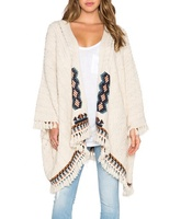 Plus Size Fashion Solid Crochet Cardigan Knitted Ladies Hand Knitting Woman Kimono Sweater