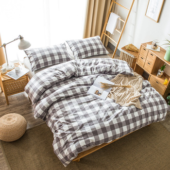BS-0011 Washed Breathable High Quality Natural Printed King Full Size comforter sets bedding