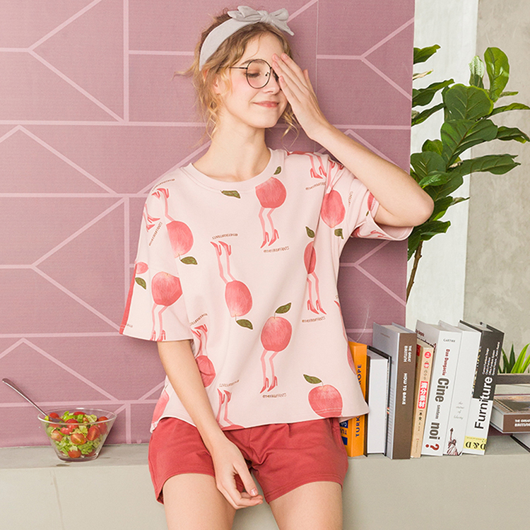 Hot Sale Pink Cartoon Funny Apple Pattern Printed Two-Piece Women Nightgown Pajamas