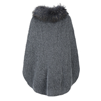 High Quality Wholesale Fashion Winter Ladies Winter Genuine Real Fox Fur Wool Poncho Coat With Fur