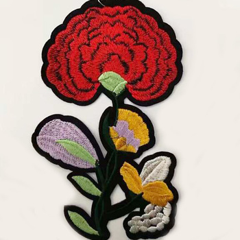 0806W Red Flower Sew On Embroidery Patch for Women Collar,sew patches sale