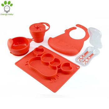 Food Grade Silicone Kids Meal Set Toddler Self Feeding Baby Dinnerware Set with Placemat Bowl Bib Spoon Fork