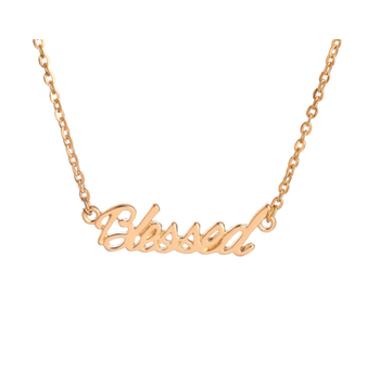 Hot selling fashion word blessed letter pendant necklace jewelry