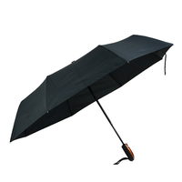 full printing 3 folding clear umbrella with wood handle