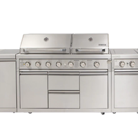 2020 Modern Outdoor Stainless Steel BBQ Kitchen Gas Grill Cabinets islands with Roller